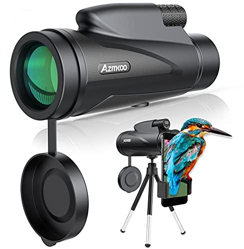AZMKOO Telescopio Monoculare, 12 x 50 HD BAK4 Monocoli con Adattatore e Treppiede, PerIil Bird Watching, La Caccia, Il Campeggio, Le Escursioni