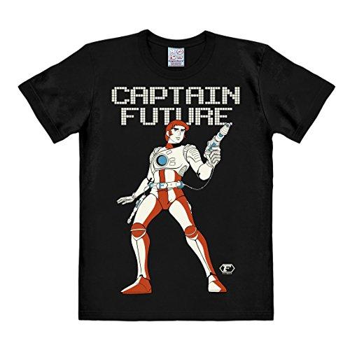 Logoshirt Science-Fiction - Captain Future T-Shirt Herren - schwarz - Lizenziertes Originaldesign, Größe L