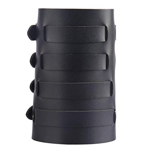 Générique Bracer Steampunk Bracelet en Cuir PU Durable pour Homme et Femme, Noir