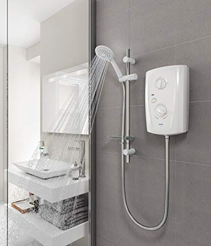 Triton T80 Pro Fit Electric Shower 7.5kW White & Chrome 5 Spray Modern SP8007PF