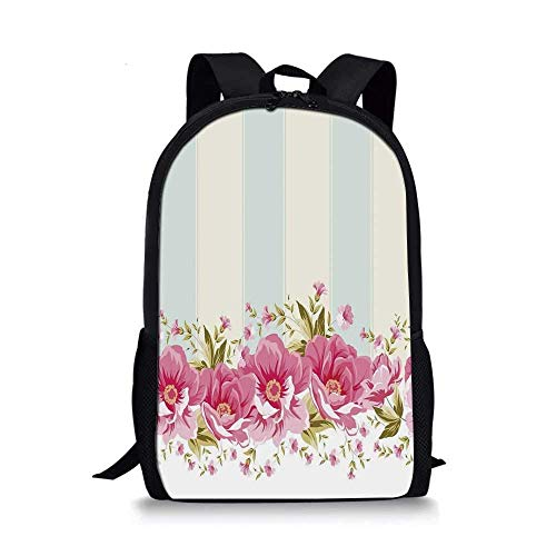 HOJJP ñ mochila escolar von ruedas Damask Stylish School Bag,Symmetrical Damask Motif with Floral Elements Flowers and Leaves with Curves Image Decorative for Boys,11