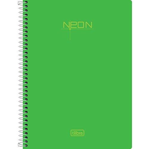 Caderno Espiral Capa Plástica 1/4 Pequeno, Tilibra, Neon, 148717, 14x20cm, Verde, 96 Folhas