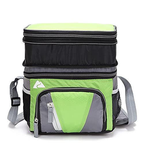 Nenka Bolsa para el almuerzo grande con correa ajustable, bolsa isotérmica impermeable, mochila aislante, bolsa de almuerzo, bolsa de pícnic, bolsa térmica de doble capa, 10 l (verde)