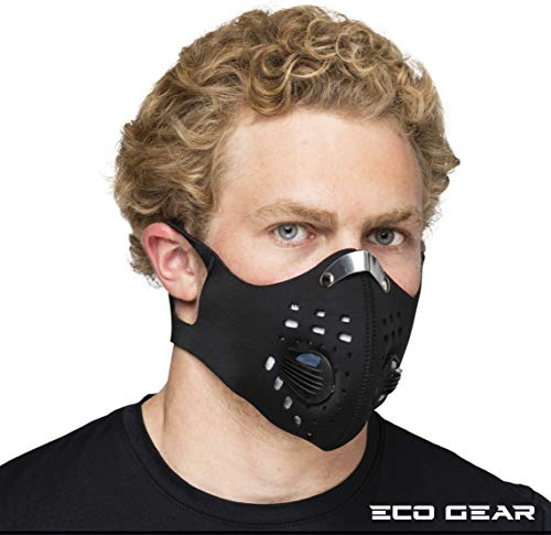 Anti Pollution Face Mask with Military Grade Activated Carbon Protection | Anti Smoke, Exhaust Gas, Dust, Pollen | Running, Walking, Cycling and other Outdoor Activities (Pure Black)