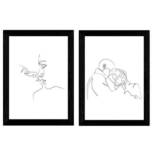 Nacnic Set de 2 láminas de Dibujos con un Solo Trazo Beso y Abrazo. Posters con una Sola Linea. Tamaño A3 sin Marco