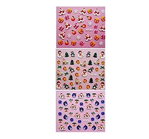 50 Nagelsticker WeihnachtsnäGel Aufkleber Damen Mini Sticker Set Kunst Aufkleber ManiküRe Deko Professional Nail Art Nailart Sticker Abziehbilder Selbstklebend-Schnee, Santa Claus