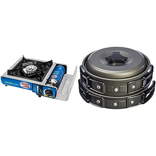 SUPER EGO SEH003300 Cocina cartucho gas portátil, Gris, 34x9x26 cm + AmazonBasics Juego de utensilios de cocina para acampada al aire libre