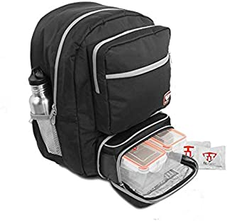 Fitmark Transporter Backpack with Removable Meal Prep Insulated Bag with Portion Control Meal Containers, Reusable Ice Packs, Black