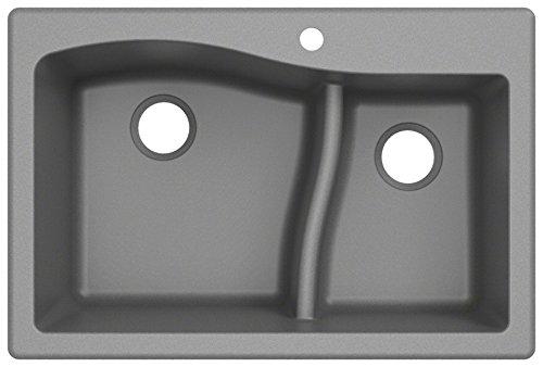 Kraus Quarza Kitchen Sink | 33-Inch 60/40 Bowls | Grey Granite | KGD-442 model