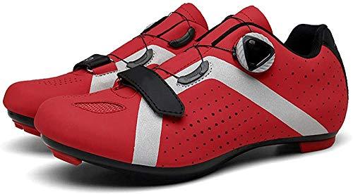KUXUAN Zapatillas de Ciclismo para Hombre Zapatillas de Ciclismo de Carretera para Mujer Zapatillas de Bicicleta de Montaña Zapatillas de Ciclismo,Red-42EU=(260mm)