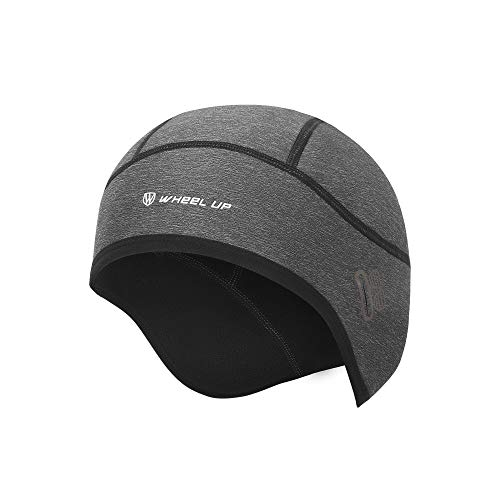 Winter Skull Cap Beanie, Cycling Hat Caps for Under Helmet Men Women with Windproof Thermal Fleece, Motorcycle Helmet Liner Cycle Cap Cover for Outdoor Sports Riding/Skiing/Running Grey