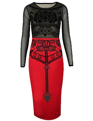 FOREVER YUNG Women's Sexy Long Sleeve Gauzy Midi Dress with Lace Trim Black-Red L