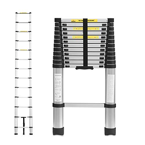 Trintion 12.5Ft/3.8M Telescopic Ladder Portable Aluminium Extension Ladders Multi Purpose Folding Extendable 13 Step Loft Ladder, Capacity 150kg/330lb
