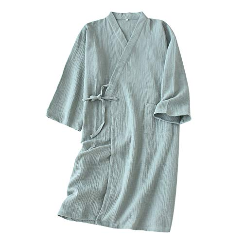 FEOYA Yukata Japonés Kimono Algodón Rizo Mujer Verano Albornoz de Color Sólido Bata de Baño Pijama Delgado Ropa de Dormir Color Frijol Rojo Talla M