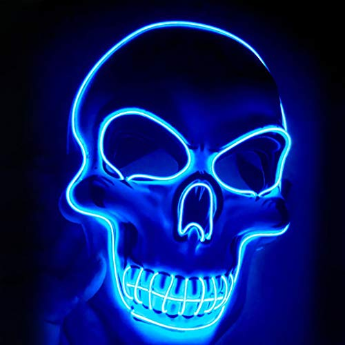 UINGKID Halloween Maske LED Leuchtmaske Scary Glowing Mask für Festival Cosplay Halloween Kostüm Party