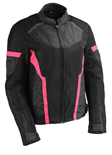 Milwaukee Leather MPL2794 Women's Black and Pink Mesh Racer Jacket with Gun Pockets - Medium