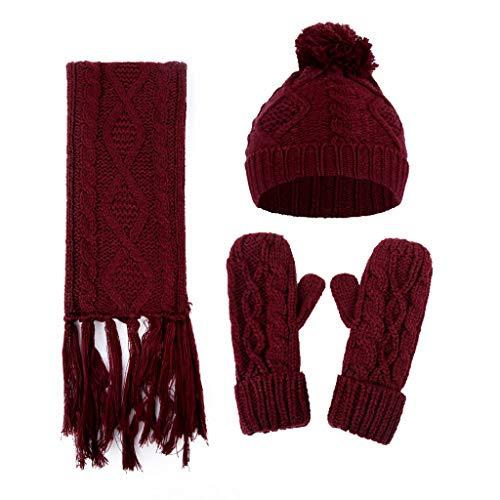 gulang-keng Conjuntos de invierno para mujer, 3 en 1 cálido sombrero bufanda conjunto, color sólido pompón bola elástico gorro borlas chal para regalos de Año Nuevo