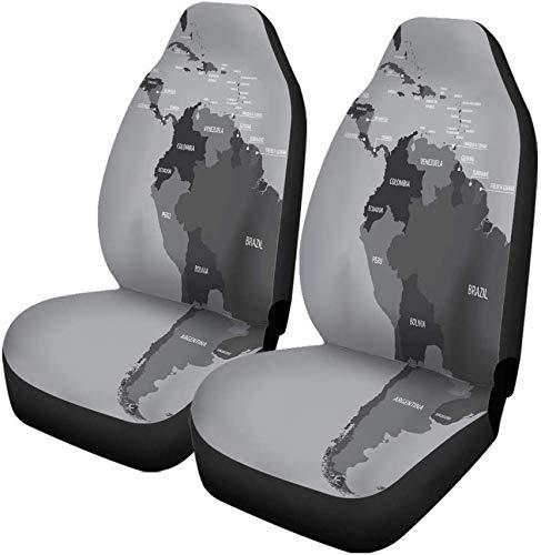 Set van 2 Autostoelhoezen Latijns-Midden- en Zuid-Amerika Kaart Belize Brazilië Panama Universele Auto Voorstoelen Protector Past Voor Auto