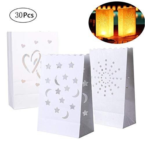mengger Papier lichttüten 30 Stück kerzentüten Teelichter klein weiß teelichthalter Leuchtsäcke Papiertüten Laternen Mini Candle Bags für Dekoration Geburtstag Weihnachten Straßenfest Hochzeit