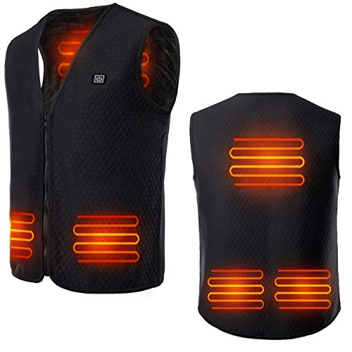 IFLOVE Heated Vest USB Charging Temperature Adjustable Outdoor Heating Cold-Proof Waterproof Jacket with Pocket for Man & Woman Black