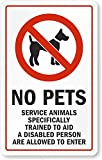 """SmartSign """"No Pets, Service Animals Specifically Trained To Aid A Disabled Person Are Allowed To Enter"""" Glass Door Decal 