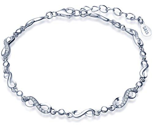 Unendlich U Fashion Unendlichkeit Symbols Zeichen 8 Damen Charm-Armband 925 Sterling Silber Zirkonia Armkette Verstellbar Armkettchen, Silber