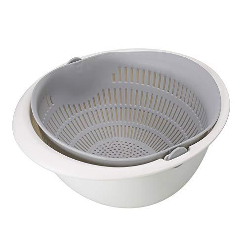 Delleu 2-in-1-Multifunktions-Küchensieb- / Sieb- und Schüssel-Set,doppelt geschichtetes drehbares Ablaufbecken und Korb zum Reinigen,Waschen,Obst,Gemüse