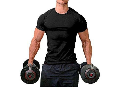 Hippolo Männer Pure Cotton Fitness T-Shirt Muskel Body Shirt Kurzarm (XXL, Schwarz)