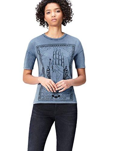 Marca Amazon - find. Camiseta con Mensaje con Cuello Redondo Mujer, Azul (Blue), 36, Label: XS