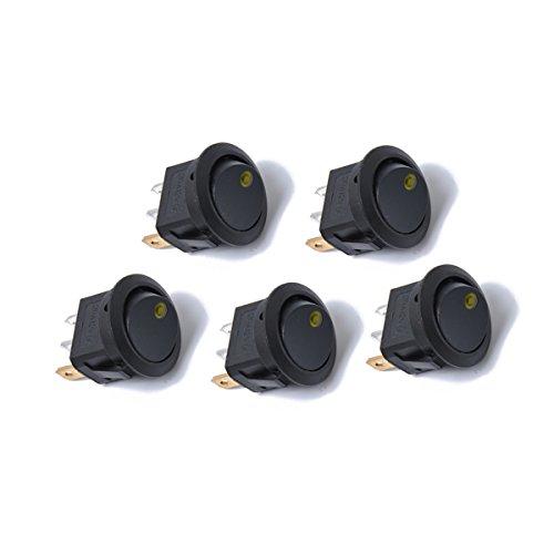 WINOMO 5 Open Buy Rocker Switches 12 V 3 Broches on Off Interrupteurs de Contrôle avec Lumière LED (Lumière Jaune)