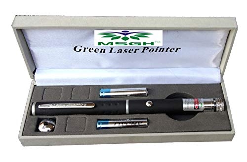 MSGH Multipurpose Green Laser Light Disco Pointer Pen Beam with Adjustable Antena Cap to Change Project Design for Presentation for Kids