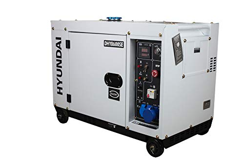HYUNDAI Silent Diesel Generator, Notstromaggregat mit 6.5 kW (230 V) Leistung, Stromerzeuger für Baustellen, Stromgenerator für Notstromversorgung, Stromaggregat (DHY8600SEi mit 230V Anschluss)