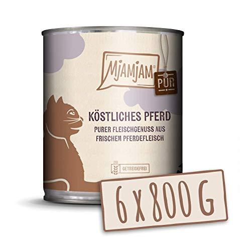 MjAMjAM - Pienso acuoso para Gatos - Delicioso Caballo Puro - Sin Cereales - 6 x 800 g