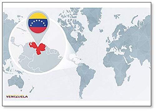 Klassischer Kühlschrankmagnet mit Weltkarte & Vergrößerung Venezuela.