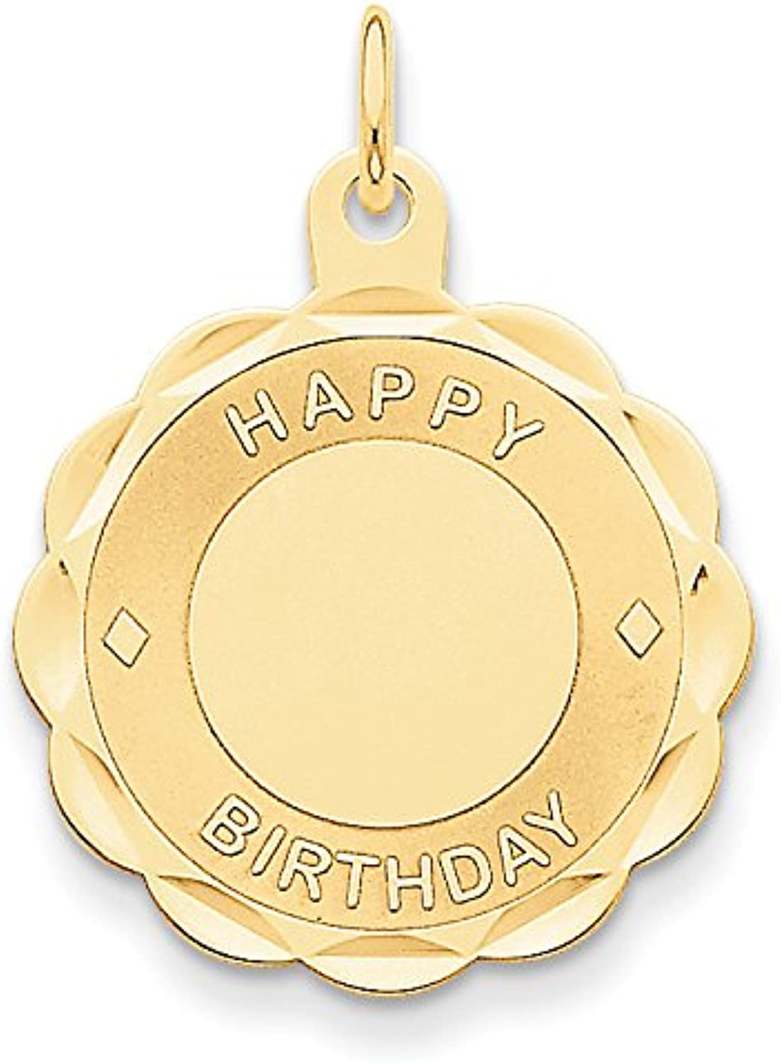 Diamond2Deal 14k Yellow gold Happy Birthday Disc Pendant