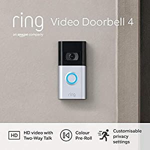 All-new Ring Video Doorbell 4 by Amazon - HD Video with Two-Way Talk, Colour Pre-Roll video previews, battery-powered   With 30-day free trial of Ring Protect Plan