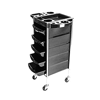 PRAKEITO Beauty Salon Rolling Trolley Cart with 5 Drawers for Stylist Hairdresser Beauty Furniture Hair Styling Storage Station Color Tray