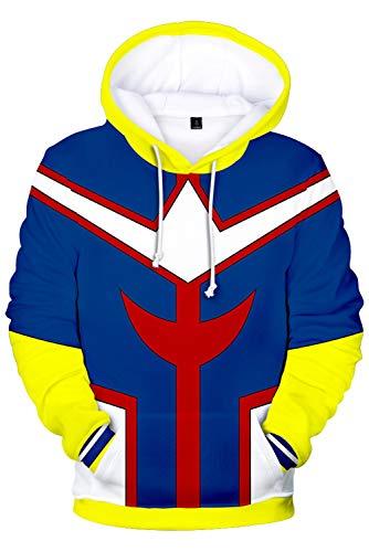 Unisexe Anime Cosplay Costume Sweat a Capuche All Might Veste d'impression Numerique, XL