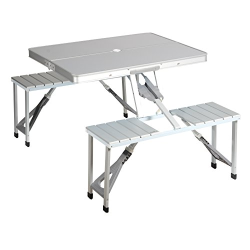 Mesa de picnic Campart Travel TA-0820 – Sistema de seguridad de plegado – Aluminio
