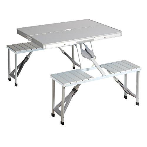 Campart TA-0820 Picknicktafel/campingtafel/reistafel - robuust aluminium materiaal/per stoel 100 kg belastbaar/eenvoudig op- en inklapbaar