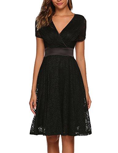 ACEVOG Dames elegante kanten jurk avondjurk cocktailjurk zomerjurk swing jurk A lijn V hals feestelijk knielang zwart wijnrood wit GR.S-XXL