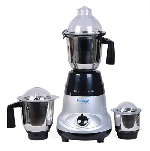 Sumeet Traditional Amica Mixer Grinder, 750W, 3 Jars (Silver)