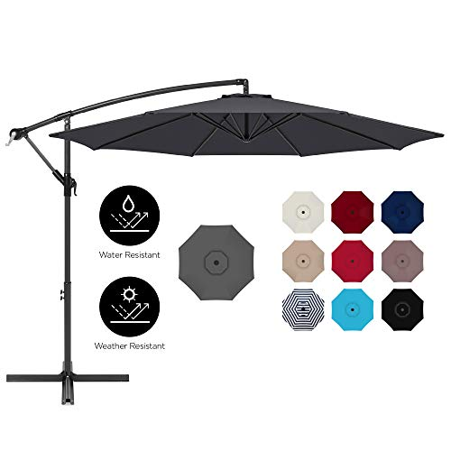 Best Choice Products 10ft Offset Hanging Market Patio Umbrella w/Easy Tilt Adjustment, Polyester Shade, 8 Ribs for Backyard, Poolside, Lawn and Garden - Gray