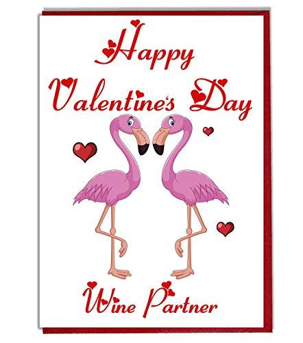 AK Giftshop Flamingo liefde Valentines kaart voor een vriend - vriendin - vrouw - man - partner - liefhebber - gelukkig Valentijnsdag wijn partner