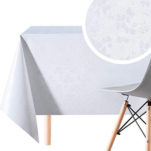 KP Home Nappe Toile Cirée Rectangulaire de Luxe pour Unie Blanche Facile à Nettoyer - 200x140 cm - Moderne Nappe PVC Motif de Fleurs élégant Qualité Plastique Vinyle Epais Nettoyable à l'Eau