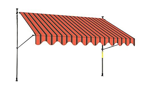 Rollolux LED Klemmmarkise Orange/Schwarz 400 x 120 cm Markise Balkonmarkise Sonnenschutz - mit Gestell ohne Bohren – UV-beständig - Höhenverstellbar 230-300 cm