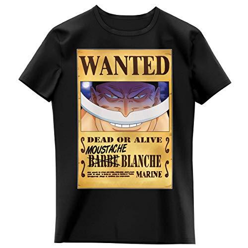 T-Shirt Enfant Fille Noir Parodie One Piece - Edward Newgate - Barbe Blanche - Le Wanted Secret. : (T-Shirt Enfant de qualité Premium de Taille 5-6 Ans - imprimé en France)