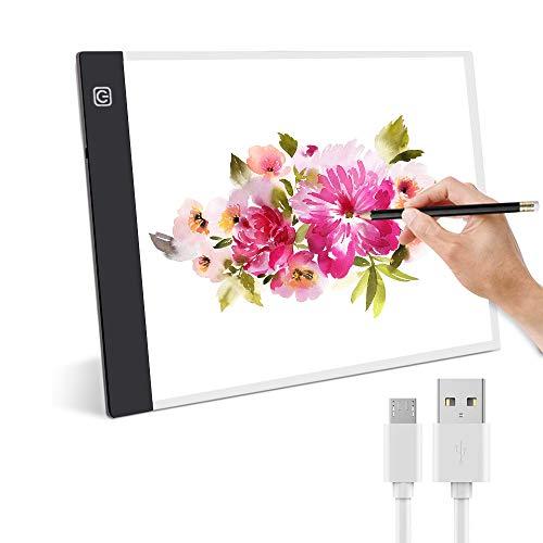 Mesa de Luz para Calcar, Guiseapue LED A4 Mesa de Luz Dibujo Tableta de Luz para dibujar USB proyector para dibujar para Animacion Tatoo Dibuja Caligrafía