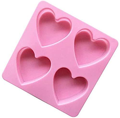 LINKLANK Molde de silicona, 2 piezas de utensilios de horneado, forma de corazón rosa, gelatina, pudín de chocolate, moldes para decoración de tartas en el hogar, horneado, cocina