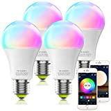MagicLight Smart WiFi Bulb No Hub Required, E26 A19 7W (60w Equivalent) UL Listed Tunable White Multicolor WiFi Smart LED Light Bulb, Works with Alexa Google Home SmartThings Siri (4Pack)